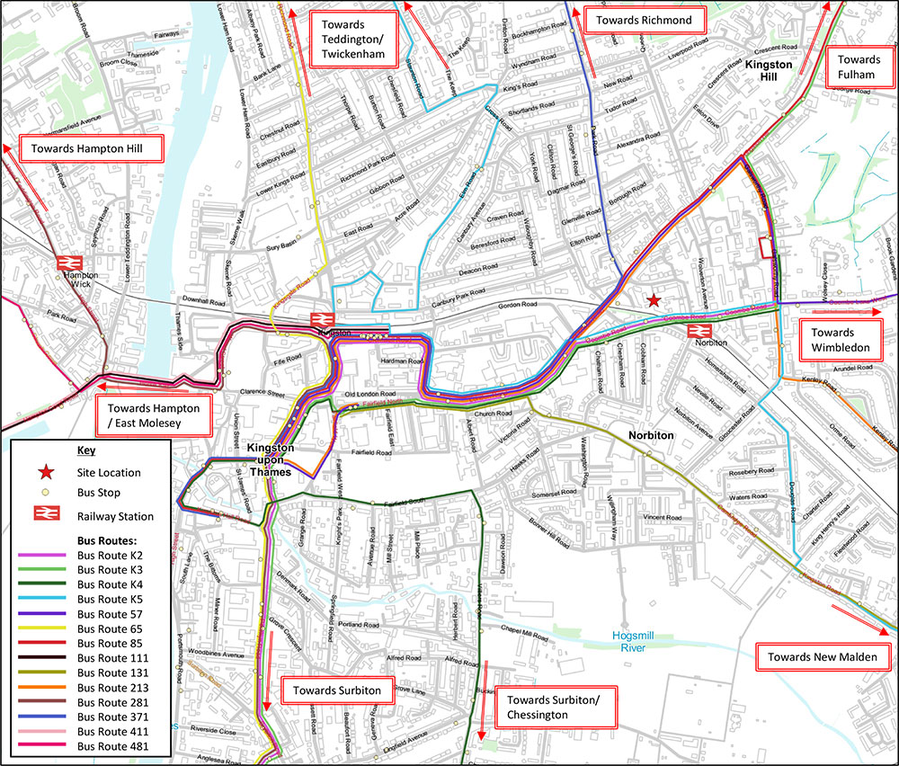 Lidl Norbiton – Public Transport Routes